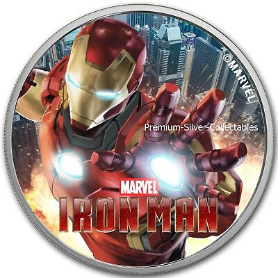 2018 Tuvalu Marvel Series Iron Man!  .9999 - 1 Ounce Pure Silver Colorized!