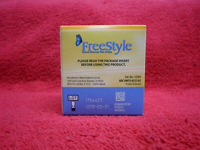 1 New Box 100 Ct Freestyle / Omnipod Blood Glucose Test Strips Exp 3/31/2019