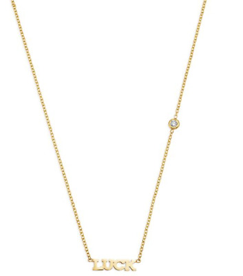 100% Authentic Zoe Chicco Necklace-Zoe Chicco Yellow Gold Diamond Luck Necklace