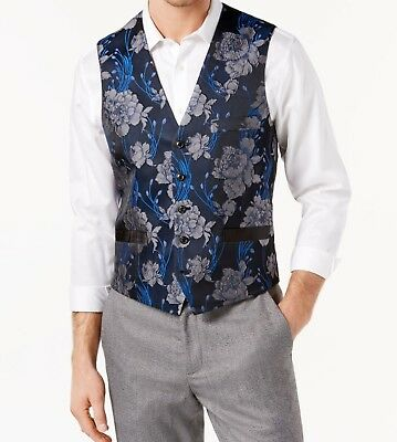 INC NEW Navy Blue Combo Mens Size 2XL Slim-Fit Floral Brocade Vest $59 070