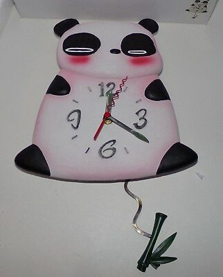 Pink Panda Pendulum Wall Clock - Brand New In Box Rare