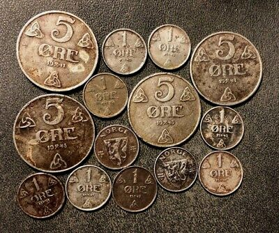 Vintage Norway Coin Lot - WW2 IRON Coins - 14 Coins - Lot #J15