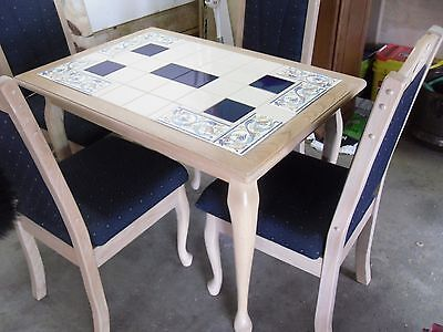 Table & 4 Chairs Ceramic Tile Top