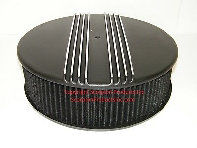 "14"" x 4"" Washable Air Filter with Billet Aluminum Finned Top Holley Edelbrock"