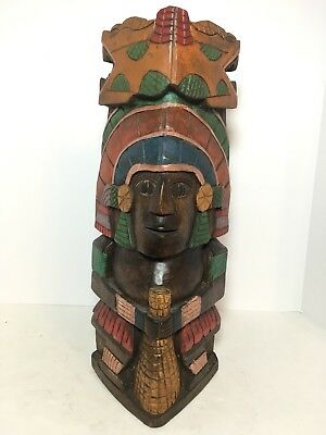 "Carved Wood Aztec Mayan Totem Corn Maze Statue 15.5"" Home Decor"