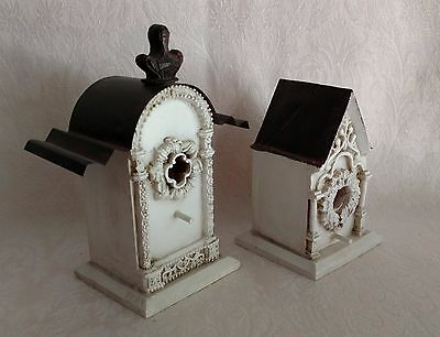 Lot 2 Miniature Decorative Bird House Charming White Shabby Chic Metal Top WOW!