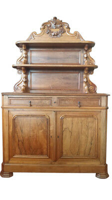 Antique French Cupboard with Hutch, Solid Walnut, Circa 1870, 80.25″H, PA4717