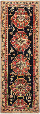 """Hand-knotted Persian Carpet 2'1"""" x 6'5"""" Persian Vintage Traditional Wool Rug"""