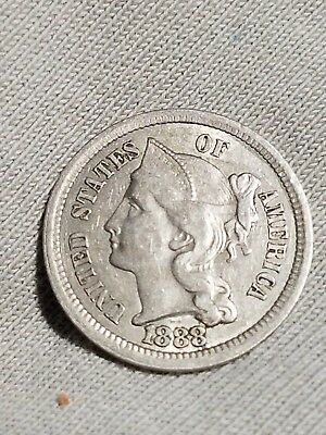 1888 Three Cent Nickel, Key date, USA Type  Coin