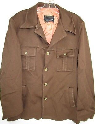 Vtg 1960s 70s JCPenney Brown LEISURE SUIT Jacket Mens XL Disco Polyester Coat