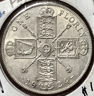 Great  Britain 1924 Florin King George V .500 Silver KM# 817a AU/UNC with Luster