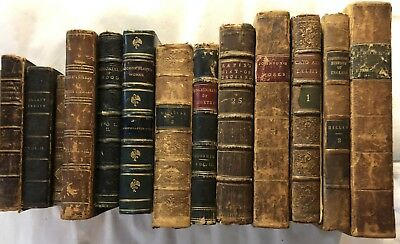 Lot of (13) Antique Vintage Leather Hardcover Gilt Books 1746-1865
