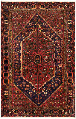 """Hand-knotted Persian Carpet 4'0"""" x 6'6"""" Zanjan Traditional Wool Rug"""