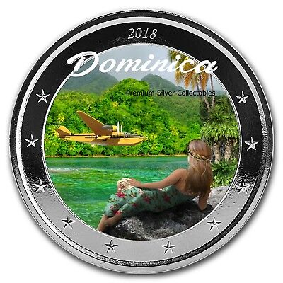 2018 Dominica Natures Isle - 1 Ounce Pure Silver Colorized E8 coin Series