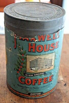 Vintage Maxwell House Coffee Tin with Paper Label