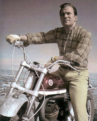 """WILLIAM SHATNER HOLLYWOOD ACTOR MOTORCYCLE 8x10"""" HAND COLOR TINTED PHOTOGRAPH"""