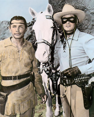"JAY SILVERHEELS TONTO CLAYTON MOORE THE LONE RANGER 8x10"" HAND TINTED PHOTOGRAPH"