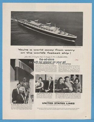 1959 S.S. United States Lines SS America Ocean Liner Travel cruise ship photo Ad