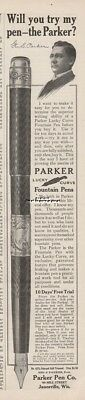 1909 Parker Pen Company Janesville Wisconsin Lucky Curve Fountain Pen vintage Ad