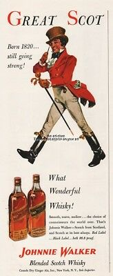 1953 Johnnie Walker Red and Black Label Scotch 1950s GREAT SCOT Whisky Ad