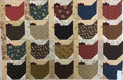 ~20~ Scrappy ~Funky Chickens~ Quilt Blocks~ For Quilt Top~ Thimbleberries~2~