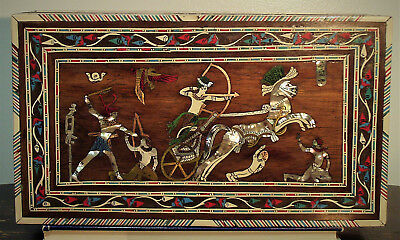 Antique Handcrafted Lockable Inlaid Wood Box; Egyptian Revival Circa 1890