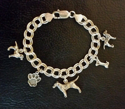 """Sterling Silver Charm Bracelet DOGS Dangle Charms 7"""" 25g 925 Italy"""