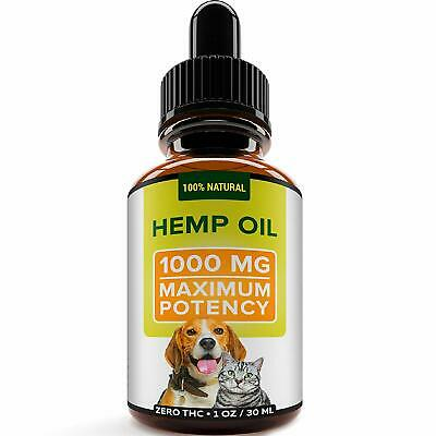 Hemp Oil for Dogs and Cats - 1000mg - Premium Hemp Extract -  Omega 3, 6 & 9