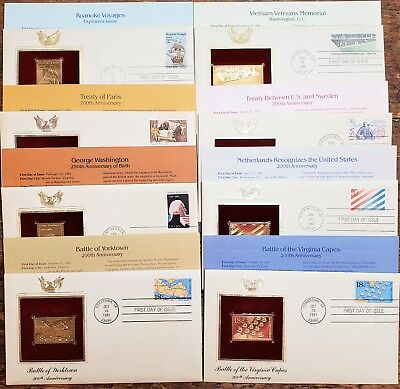 Small Lot of 22K Gold Replica Stamps First Day Of Issue