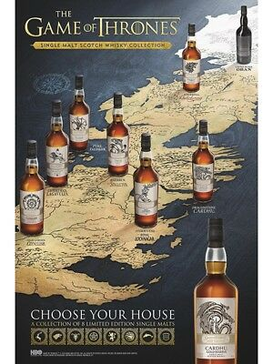 Game of thrones poster. Single malt scotch Whisky collection 24 X 36 NEW & RARE