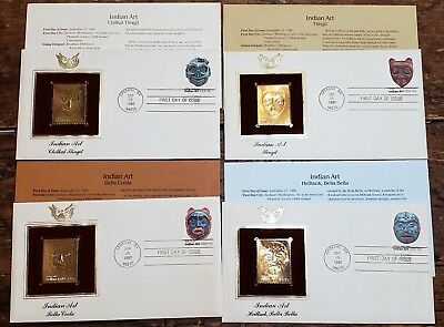 Indian Art 22K Gold Replica Stamps First Day Of Issue