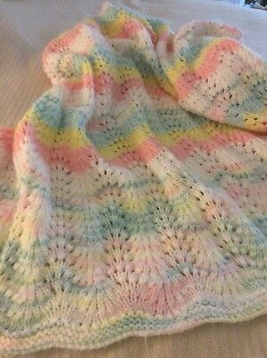 Handmade knitted  Baby Blanket Ombré White Pastel Colors Washed But Never Used.