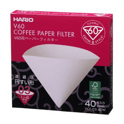 Hario V60 Paper Filter 03W 40 Sheets 1-6 Cups VCF-03-40W from JAPAN