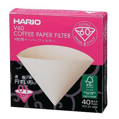 Hario V60 Paper Filter 01M 40 Sheets 1-2 Cups VCF-01-40M from JAPAN
