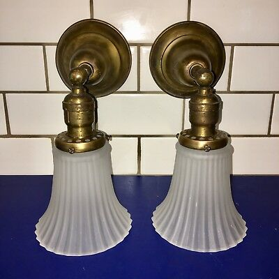 Wired Pair Antique Brass Steampunk Wall Sconces Vintage Frosted Shades 52E