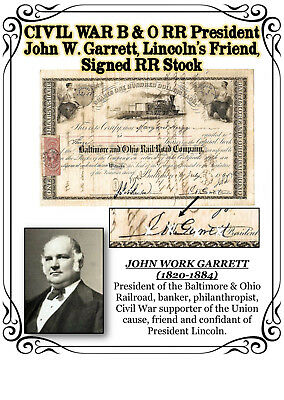 CIVIL WAR Baltimore & Ohio RR Pres. John W. Garrett, Lincoln's Friend, Sign Cert