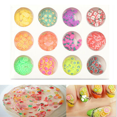 12Types/Set Fruit Slices Fille For Nails Art Tips DIY Slime Accessories Supply .