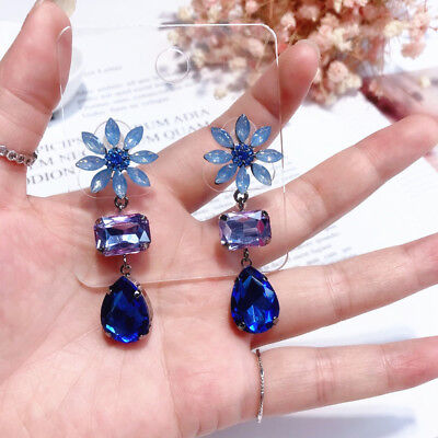 Fashion Women Daisy Flower Luxury Crystal Dangle Drop Earrings  Party Jewelry