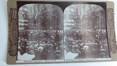 Antique George Rose Stereo Card Photograph Coronation King Edward Pall Mall Pro.