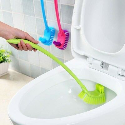Portable Double Sided Toilet Brush Plastic Long Handle Bathroom Cleaning Brush
