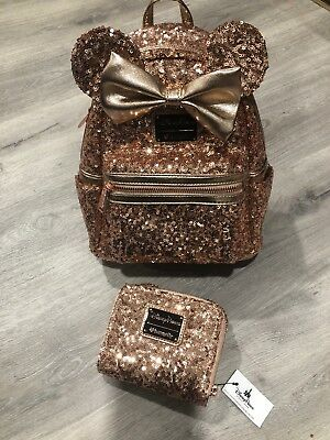 Disneyland Parks Loungefly Minnie Mouse RoseGold Sequin Backpack Disney Parks
