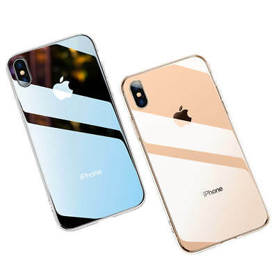 Tempered Glass Back Cover + TPU Frame Hybrid Case for iPhone Xs Max Xr 8 Plus 7
