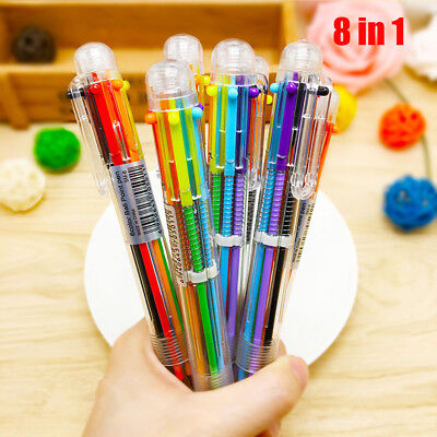 New Design 8 in 1 Color Ballpoint Pen Multi-color Ball Point Pens School Supply