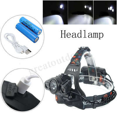 50000LM LED Headlight Headlamp Torch Flashlight Camping Lamp Light Rechargeable