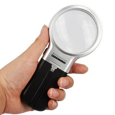 HandHeld 3X Magnifying Reading Magnifier Folding Desk Glass Loupe with LED Light