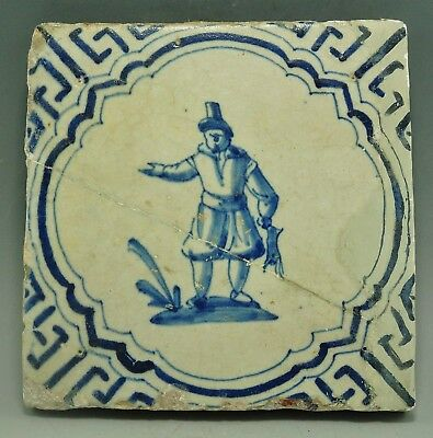 Early 18Th Century Delph Tile Depicting Poacher/game Keeper With Rabbit (972H)