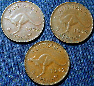 Lot of Australia 1942 KGVI Penny Error Variety x3 RARE