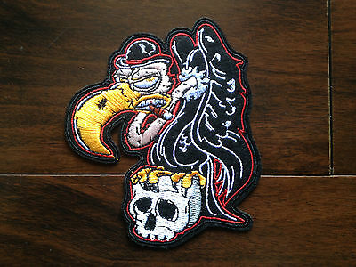 Patch / Ecusson  Vautour tete de mort skull thermocollant Psycho Rocker Punk