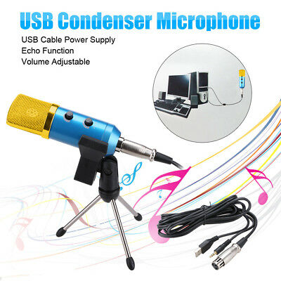 Pro USB Professional Condenser Microphone Mic Sound Recording  Shock Mount Blue