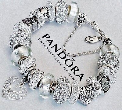 "Authentic Pandora Bracelet ""A LOVE STORY!"" with Heart Mom Wife European Charms."